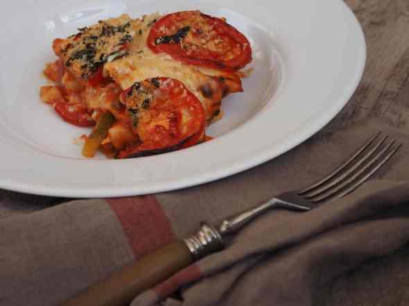 Gemüse Lasagne on a plate